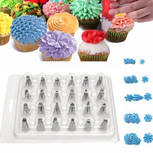 24PCS Icing Piping Nozzle Tips Cake Sugarcraft Pastry Decor Baking Tools Kit
