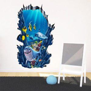 3D Seafloor Ocean Wall Stickers Home Decor Mural Art Removable Ocean World Decor Sticker