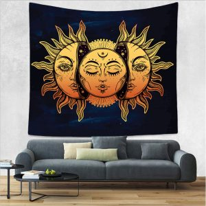 Vintage Bohemian Tarot Sun Pattern Tapestry Living Room Bedroom Wall Hanging Tapestry Art Decorations