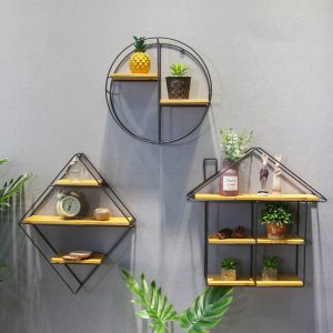 Round Shelf Wood Storage Bookshelf Wall Mounted Floating Shelf Home Decor
