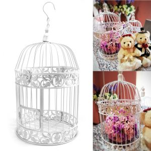 White Iron Birdcage Bird Cage Wedding Center Pieces Hanging Flowers Decorations