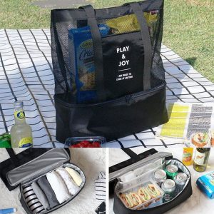 Honana DW-LB2 Handheld Lunch Bag Insulated Cooler Picnic Bag Mesh Beach Tote Bag Food Drink Storage