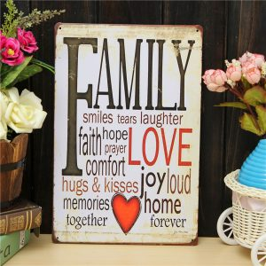 Familj kärlek plåt ritning metall målning tenn vägg hem affisch tecken
