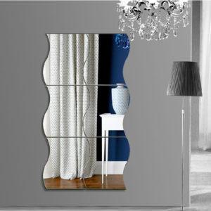 Honana DX-Y1 6 Stk söta silver DIY vågor spegel väggklistermärken hem vägg sovrum kontorsdekor