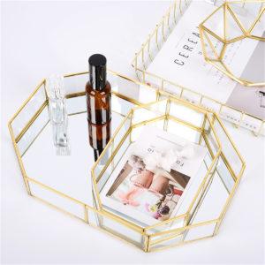 2-storlek spegelglasfack Octagon Cosmetic Makeup Desktop Organizer Smycken Display Stativhållare