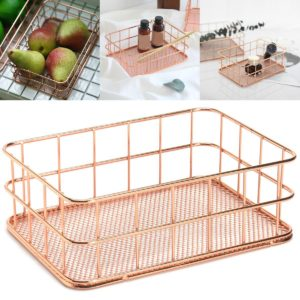 Modern Rose Gold Wire Mesh Storage Baskets Box Container Home Bathroom Bedroom A