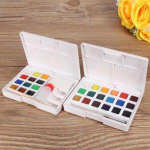 12/18 Colors Solid Watercolor Artist Paint Paintings Pigment Art Painting Sketch Set