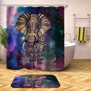 Elephant Bathroom Set Mouldproof Shower Curtain Non-Slip Rug Toilet Seat Cover Bath Mat Carpets Bathroom Decor