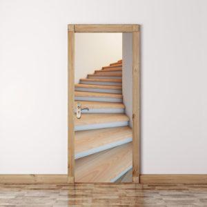 200X77CM 3D Stairway Dörrvägg Kylklistermärke PVC Självhäftande vardagsrum Väggdekor Trappdekor