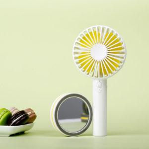 Portable Creative Macaron Design USB Rechargeable 2 Modes Desktop Handheld Fan with Mirror Base