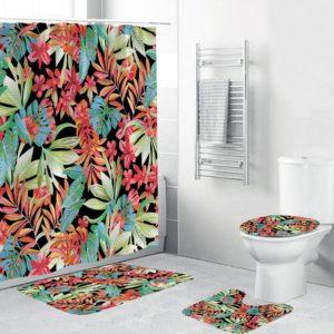 3D-digitalt tryck Vattentätt Mildewproof Duschridå Bad Matta Set Badrum Miljövänligt Ingen blekning maskin tvättbar