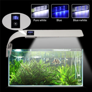 15W 5730 40LED Aquarium Light Arm Clip Grow Fish Tank Lamp White Blue AC220V EU