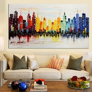 120X60 CM Modern City Canvas Abstrakt målning Tryck Living Room Art Wall Decor Inga rampapper
