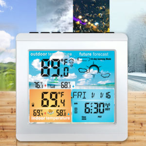Bakeey Weather Station Daily Clock Low battery Alarm Thermometer Hygrometer Outdoor Indoor Temperature Humidity Sensor