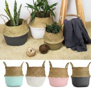Foldable Rattan Straw Basket Flower Pot Hanging Wicker Storage Baskets Garden Accessories