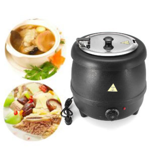 400W 10L Stainless Steel Soup Kettle Electric Bolier Black 98°C Max Party