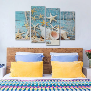 4Pcs Conch Fishnet Starfish Beach Canvas Paintings Pictures Waterproof Frameless