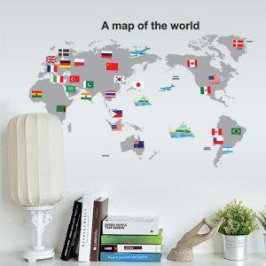 Världskarta PVC-väggklistermärken Avtagbara vattentäta väggkonstdekaler Heminredning