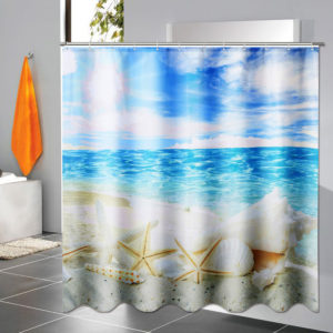 180x180cm 3D DIY Bathroom Waterproof Shower Curtain with 12 Hook Beach shell