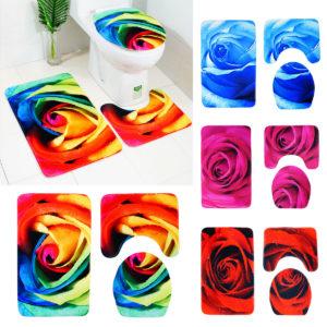 3pcs 3D Rose Bathroom Floor Mat Set Anti Slip Rug, Shower Bath Mat ,Toilet Lid Cover