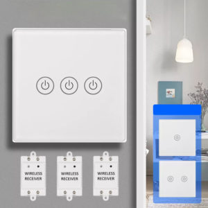 1/2/3 Gang Touch Control Outlet Wireless Light Switch with 2PCS Receivers Kit for Household Appliances Unlimited Connections Control Module Switch Panel Housing