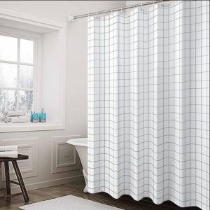 150/180/200cm Modern Bathroom Shower Curtain White&Black Grid