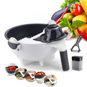 9 In 1 Multifunctional Vegetable Slicer with Drain Basket Household Potato Slicer Radish Grater Kitchen Tools Drain Basket Vegetable Cutter