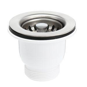 65mm Kitchen Stainless Steel Sink Strainer Drain Stopper Filter Basket Waste Kit