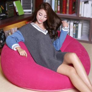Thicken Air Portable Creative Snabb uppblåsbar soffkudde Lat stol Stol bäddsoffa trädgård balkongpall