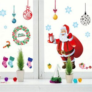 Christmas Tree Wall Sticker Santa Claus Gift Wall Art Window Home Decoration