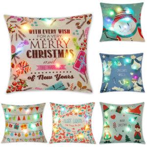 "18""x18""Christmas LED Lights Linen Pillow Case Cushion Cover Sofa Case Home Decor"