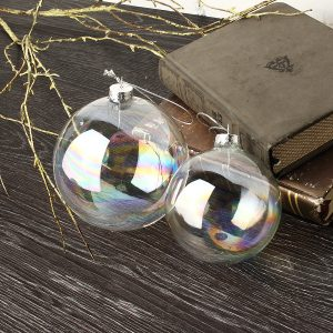 8/10cm Christmas Iridescent Glass Ball Ornament Hanging Wedding Home Decorations
