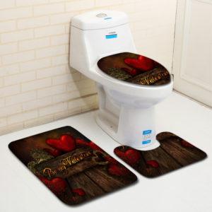 3Pcs Bathroom Non-Slip Carpet Floor Mat Pedestal Rug Lid Toilet Cover Bath Mat