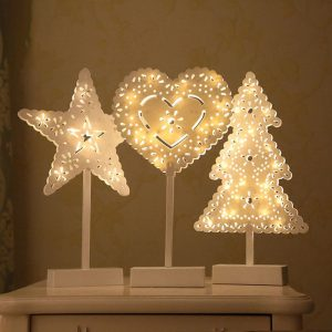 Jul LED träbord Mini Nattljus Skrivbordslampa Bröllop Sovrum Juldekorationer