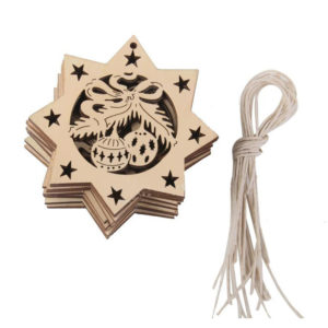 10PCS Carve Wooden Five-pointed Star Christmas Hanging Pendant Decorations