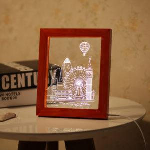 KCASA FL-732 3D Photo Frame Illuminative LED Night Light Wooden Ferris Wheel Desktop Decorative USB Lamp for Bedroom Art Decor Christmas Gifts