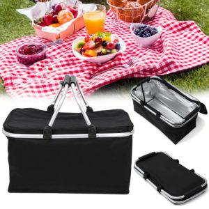 30L stor hopfällbar picknick Camping Isolerad Cooler Hamper Storage Basket Bag