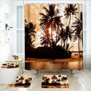 180 * 180cm Tropisk design Badrum Duschridå 3st Mattor Badrum Badmatta Set