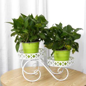 2 Tier Pumpkin Car Style Metal Plant Stand Inomhus Utomhus Uteplats Garden Planter Flower Pot Stand Hylla Heminredning