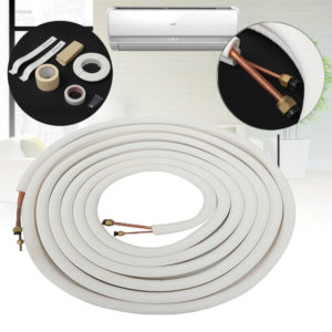 10m Air Conditioner Coil Tube 1/4'' 3/8'' Insulated Copper Wire Pipe Split Line Wire