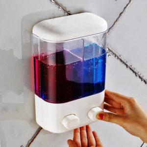 Badrumsväggmonterad manuell tvål dispenser flytande skum Lotion schampo dusch gel flaska