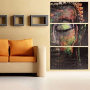 40x60cm Buddha Statues Triple Frameless Canvas Prints Oil Painting Wall Art Home Decoration