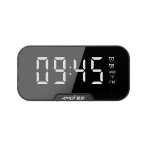 AMOI Wireless Bluetooth Speaker Portable Mini Double Alarm Clock FM Radio Subwoofer Phone Holder