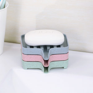 Bathroom Soap Box Wheat Straw Soap Dishes Bath Tools Storage Non-slip Grooved Drain Soap Shelf
