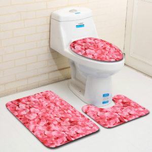 3PCS Non-Slip Bathroom Floor Carpet Pedestal Rug Lid Toilet Cover Bath Mat