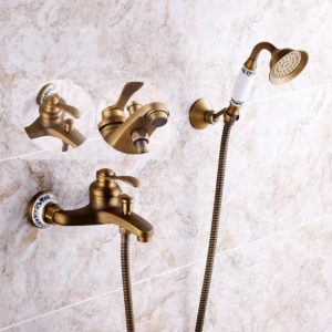 Antique Brass Shower Head Bathroom Tub Faucet Hand Held Tap Spray Waterfall Set