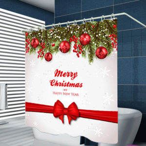 180cm x 180cm Waterproof Merry Christmas Polyster Bathroom Shower Curtain With 12 Hooks Accessories
