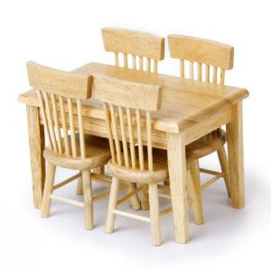 Miniatyr trä matbord bordssats för 1:12 Dollhouse Rum Möbler Accs