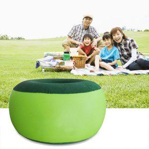 Bärbar uppblåsbar stol Utomhusplysch Pneumatisk avföring Bönväska Rund form Heminredning