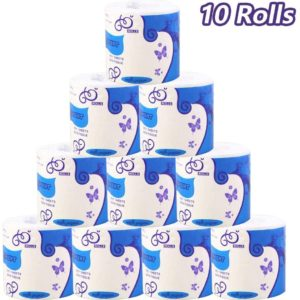 1 Roll/10 Rolls 3-Ply Toilet Paper Bath Tissue Household Bathroom Kitchen Soft White Paper